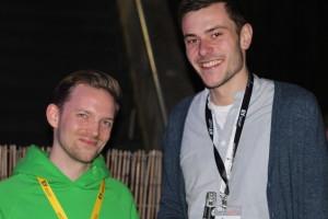 SessionLine Gründer Patrick beim Networken (mit Marc Stahlmann von Onlinemarketing.de) auf der Spätschicht.