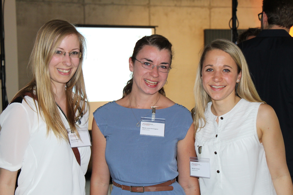 Große Vorfreude auf das Speeddating: (v.l.n.r.) Ramona Meier von Localgourmet, Maire Lene Amingeon und Miriam Schütt von Sofaconcerts