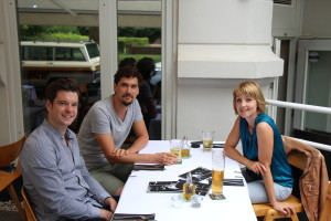 Businesslunch: Hauke Windmüller (l.), Mark Jäger und Sina Gritzuhn