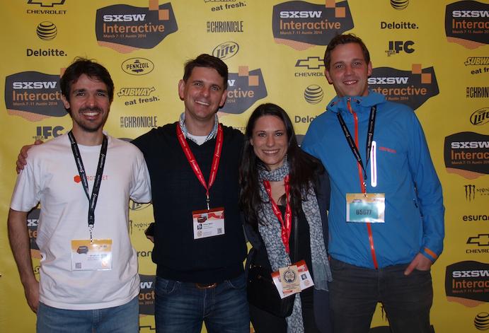 Sanja mit den drei Hamburger Startups im SXSW Startup Village