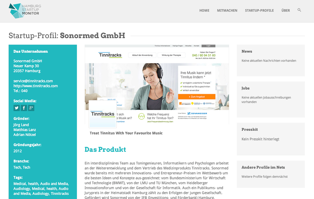 Sonormed GmbH mit Tinnitracks im Hamburg Startups Monitor