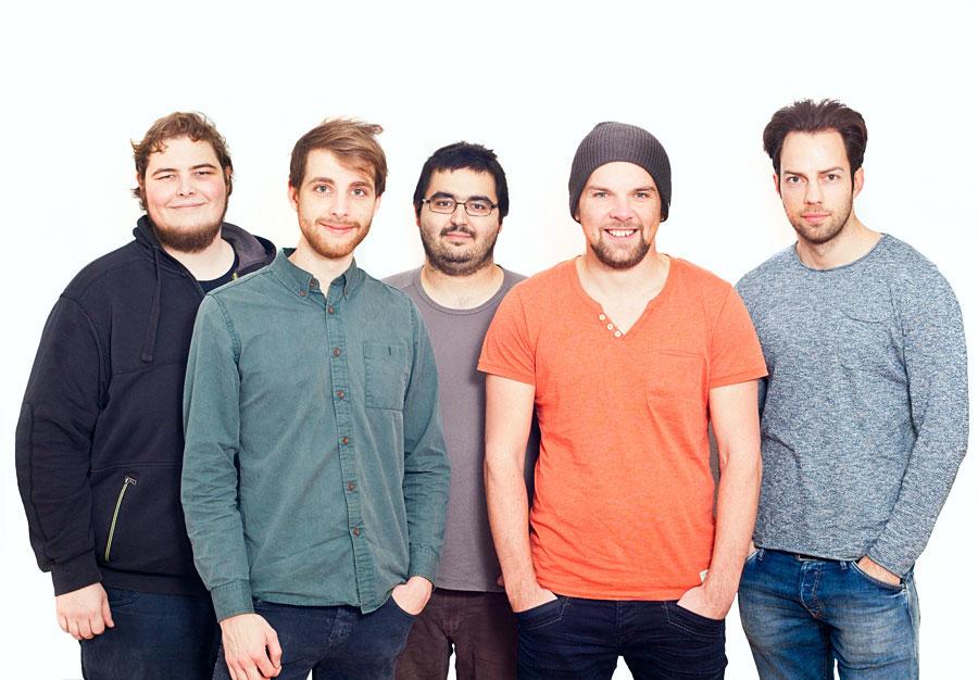 Das knowhere Team:(v.l.n.r.) Sebastian Schmitt, Robert Weber, Benjamin Steiniger, Patrick Zimmermann, Markus Bröcker