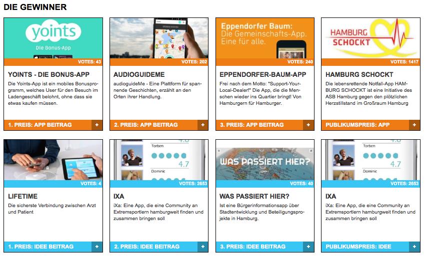 """Die Gewinner des App-Contest 2014 in den Kategorien """"Beste App"""" udn """"Beste App-Idee"""" Foto: Screenshot http://www.app-contest-hamburg.de"""