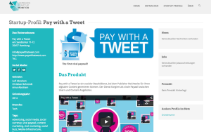 Pay with a Tweet im Hamburg Startup Monitor