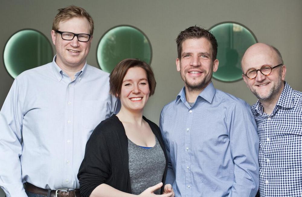 Das Management-Team des next media accelerators (v.l.n.r.): Nico Lumma, Jenni Schwanberg, Dirk Herzbach, Meinolf Ellers