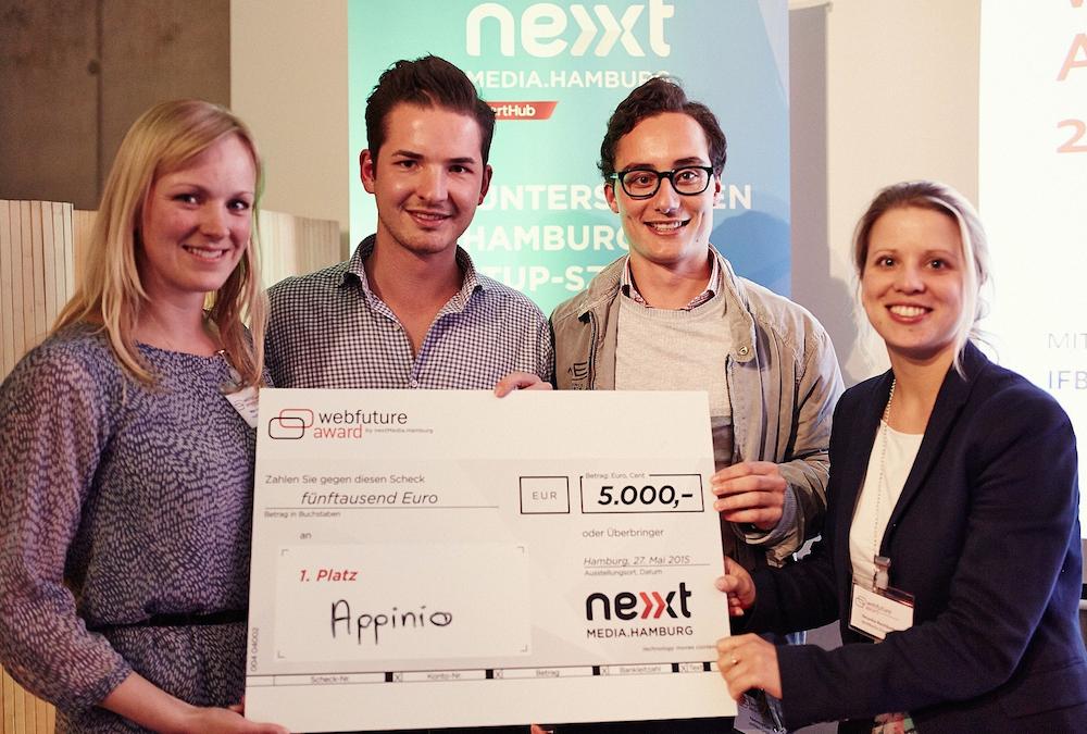 Der erste Preis des Webfuture Awards geht in diesem Jahr an appinio (Bild: nextmedia.Hamburg)