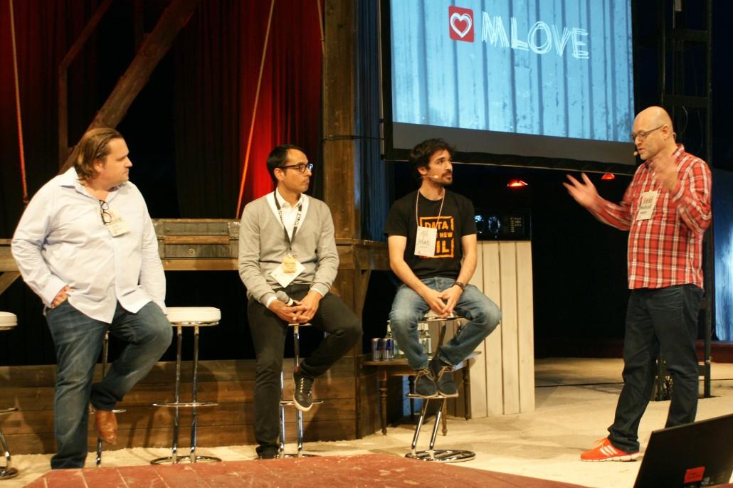 Mark Dare Schmiedel (coodo), Tristan Reckhaus (IBM), Ali Jelveh (Protonet) und Harald Neidhardt