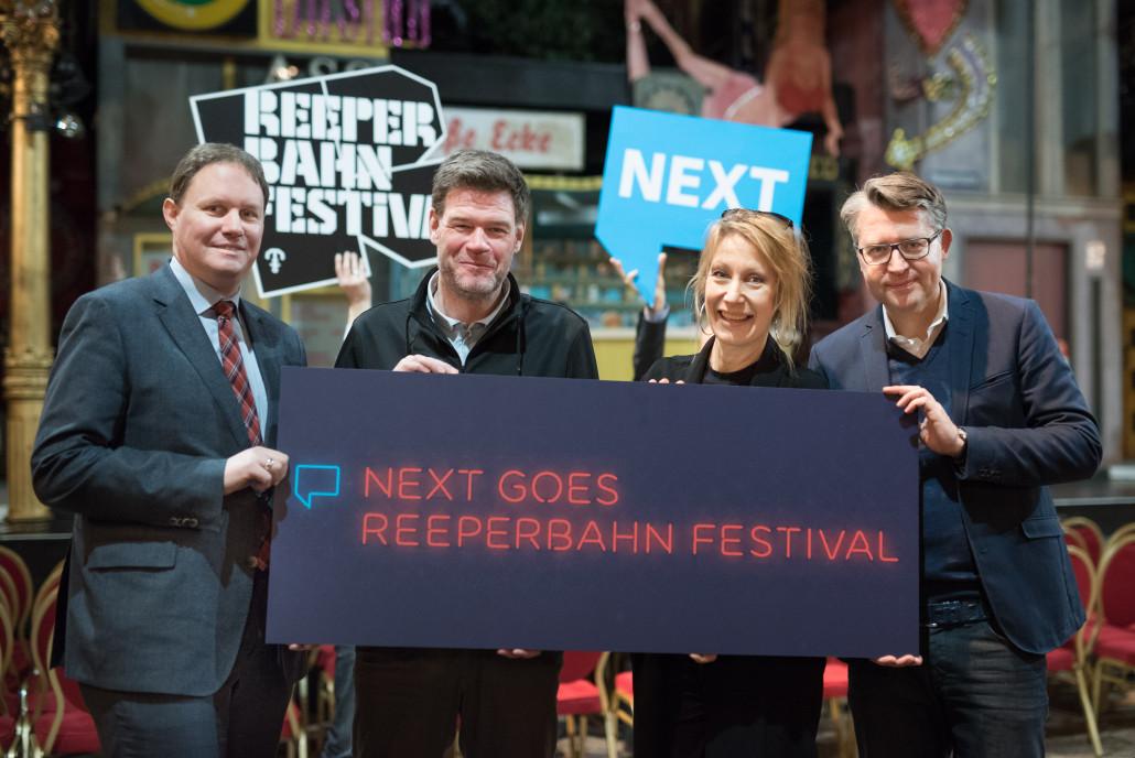 (v.l.n.r) Carsten Brosda (Senatskanzlei), Alexander Schulz (Reeperbahn Festival), Sabine Richter (Faktor 3) und Matthias Schrader (SinnerSchrader). Foto: stilpirat