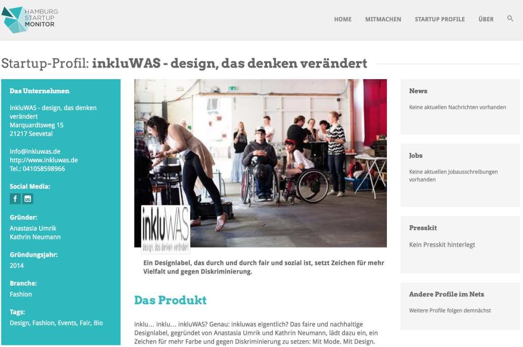 inkluWAS im Hamburg Startup Monitor