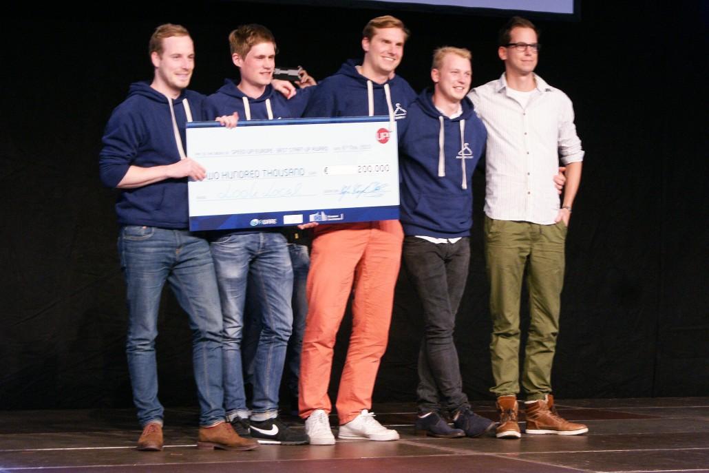 Das Team von Look Local um Martin Brücher, René Schnellen und Florian Klemt (von links) holt den ersten Platz bei SpeedUP! Europe