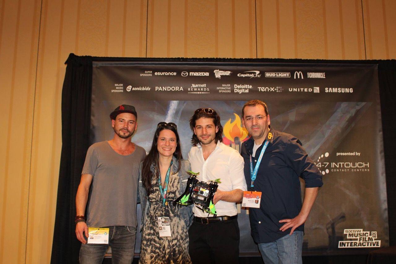 Rico Chibac (SpiceVR), Sanja Stankovic (Hamburg Startups), Nicolas Chibac (SpiceVR) und Hayder Biyik (CopterProject)