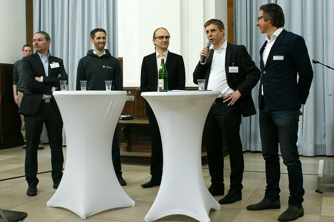 Heiko Milde (Innovationsstarter), Johannes Jacubeit (connected-health), Christian Bennefeld (eBlocker), Hendrik Matenaar (Innovationsstarter), Ralf Priemer (Channel Pilot)