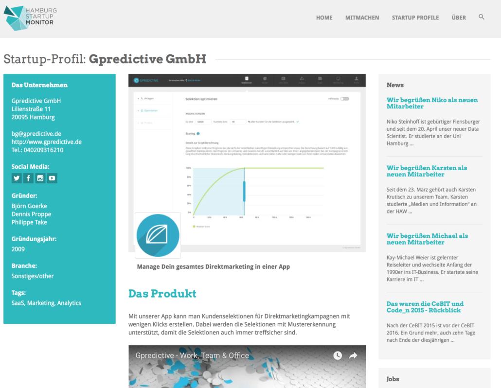 Gpredictive im Hamburg Startup Monitor