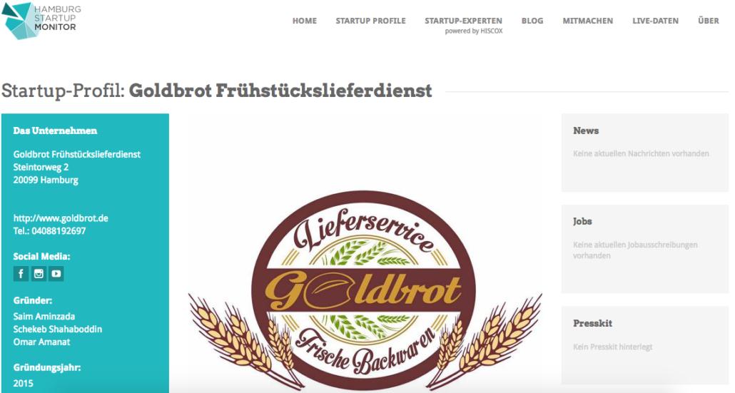 Goldbrot im Hamburg Startup Monitor