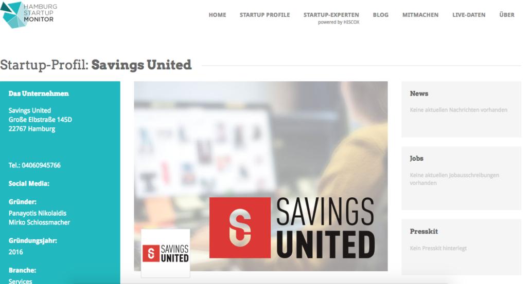 Das Monitorprofil von Savings United