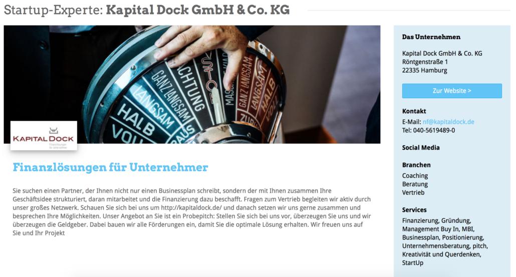 Das Expertenprofil von Kapital Dock
