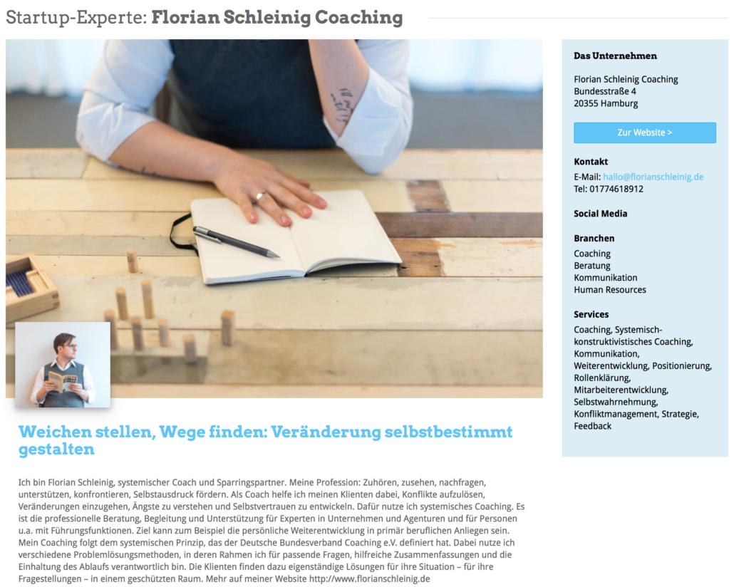 Das Expertenprofil von Florian Schleinig Coaching