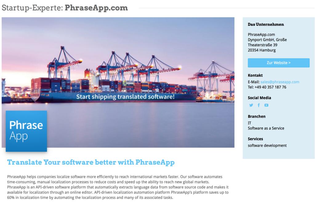 Das Expertenprofil von PhraseApp.