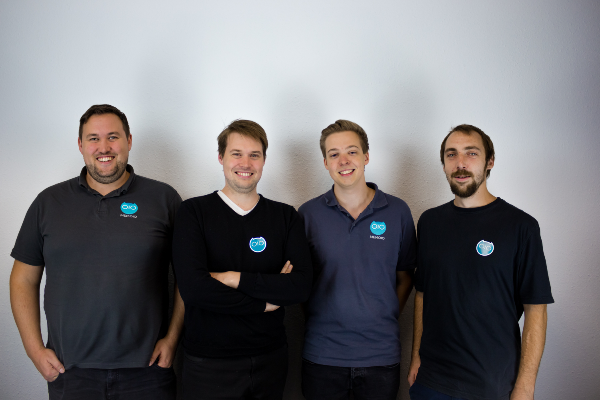 Das Team von Memoio! (v.l.n.r. Michael Haufler, Andreas Haufler, Tobias Bagg und Marius Oßmer, Bild: Memoio GmbH)