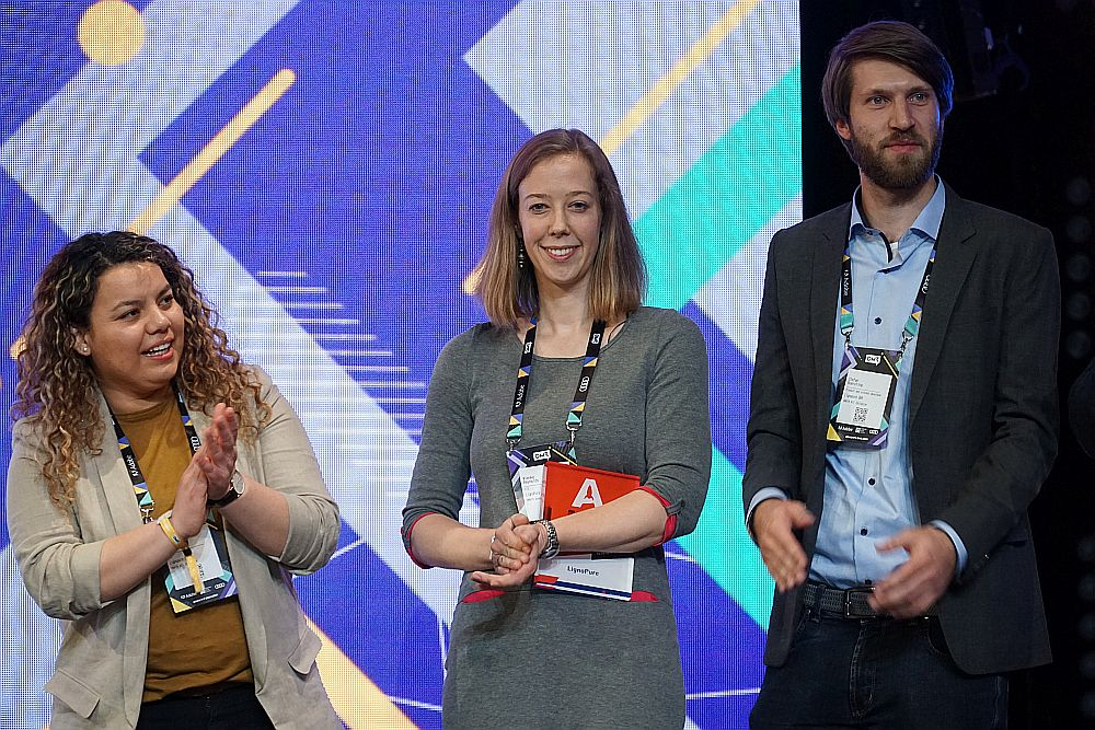 Auch Joana Gil, Wienke Reynolds und Stefan Boersting von LignoPure waren schon preiswürdig. Beim Future Hamburg Award belegten sie Platz 2.