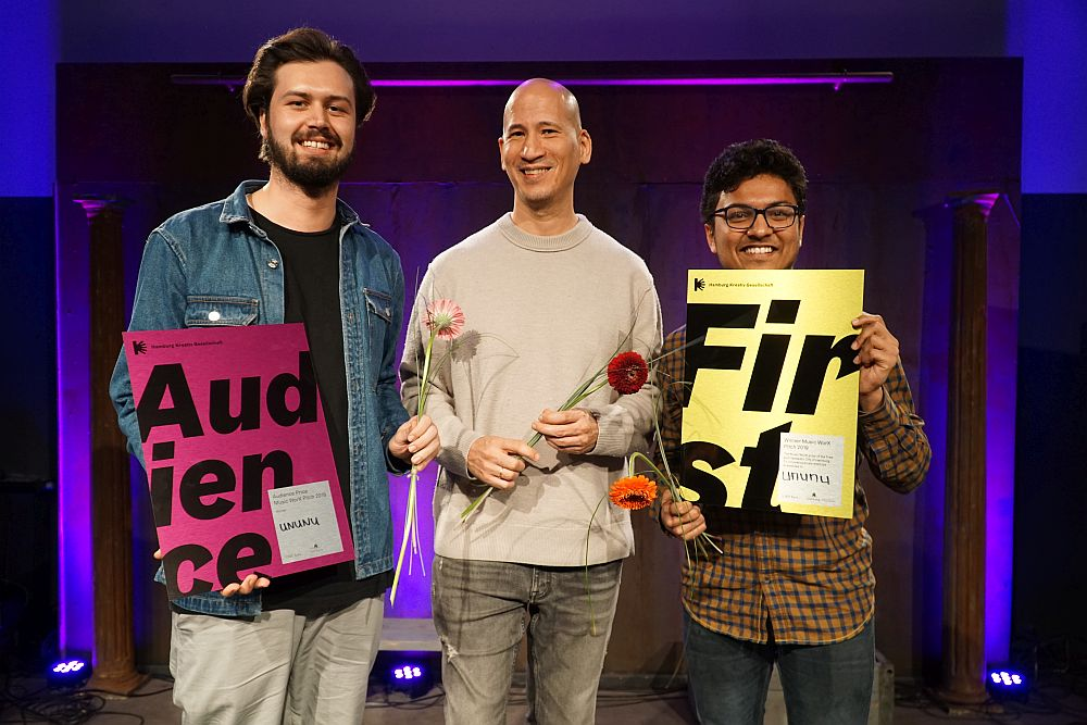 Stefan Karl, Andre Angaska und Shresth Agrawal von Ununu gewannen 2019 den Music WorX Pitch