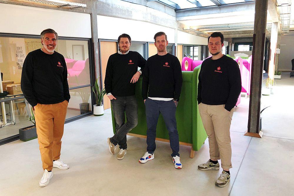 Das Gründerteam von fireXale: Gerald Ebeling, Raphael Neuburg, Daniel Nowak und Eric Heinemann (Foto: NCA)