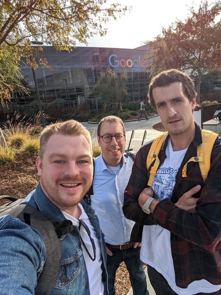 Nuuk zu Besuch bei Google in Mountain View: Alexander Köhn (CEO), Nils Kassube (CEO) und Martin Sinn (Head of Assistant Technologies). (Foto: Nuuk)