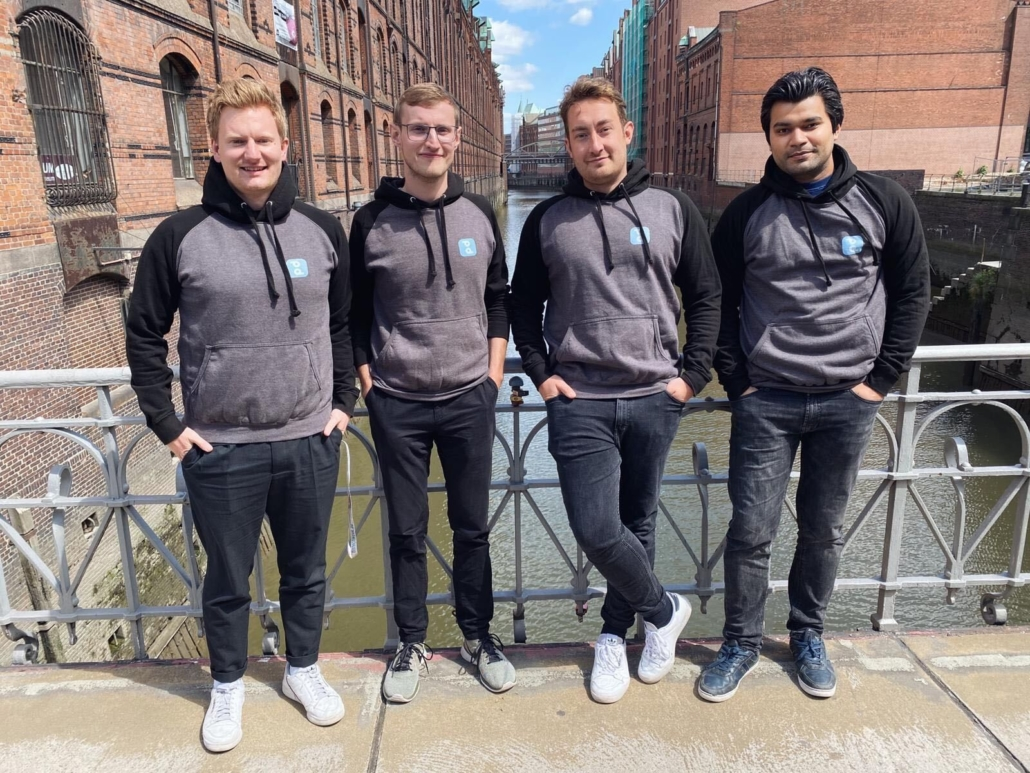 Team pockid: Jes Hennig, Timo Steffens, Max Schwarz und Deepankar Jha.
