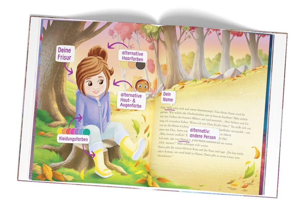 """Über einen Konfigurator lassen sich Merkmale des Kindes festlegen, hier für """"Die Eiskönigin"""". (Bild: Framily)"""