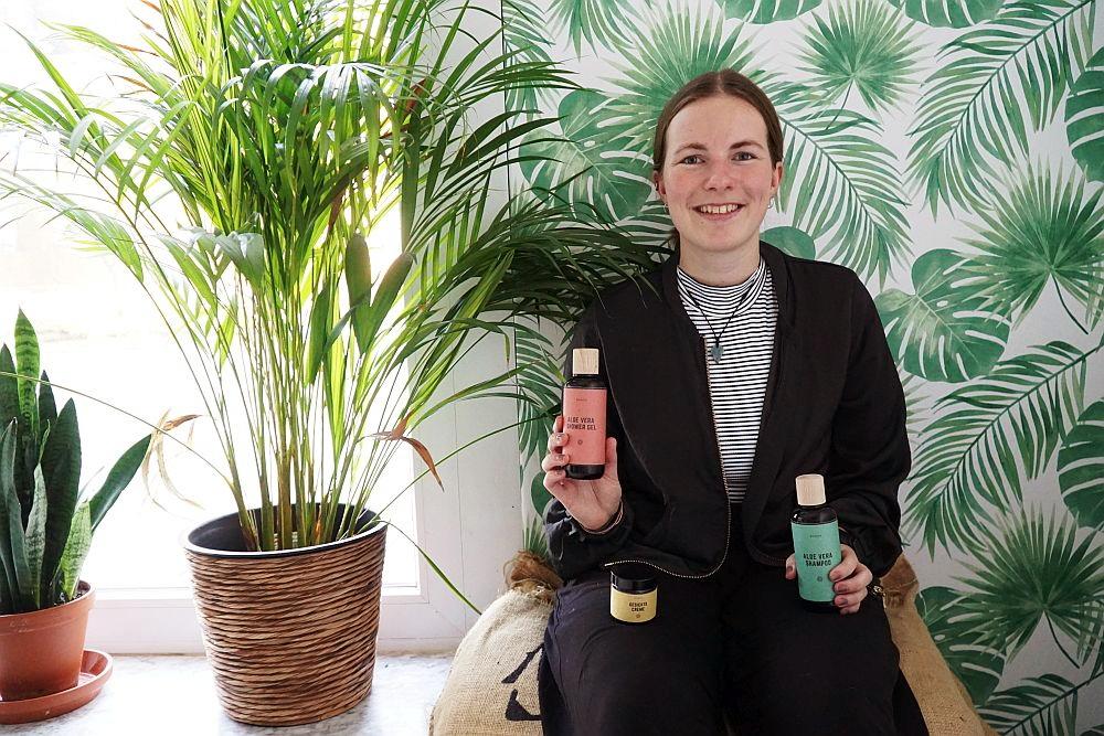 Bonda-Gründerin Annika Spilker. Das Foto entstand offensichtlich nicht in Guatemala, sondern im Impact Hub Hamburg. Einen Schnupperaufenthalt dort hatten ihr die Kolleginen und Kollegen von Amazon geschenkt.