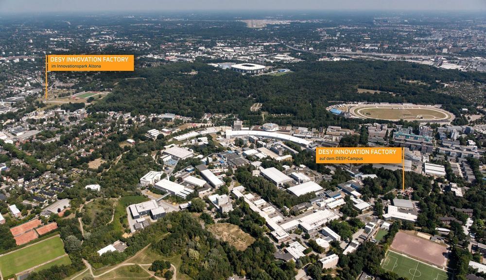 Die DESY Innovation Factory wird zwei Standorte haben: Auf dem DESY-Gelände und im Forschungs- und Innovationspark Altona (Fotomontage: DESY/R. Schaaf, Atelier Disko).
