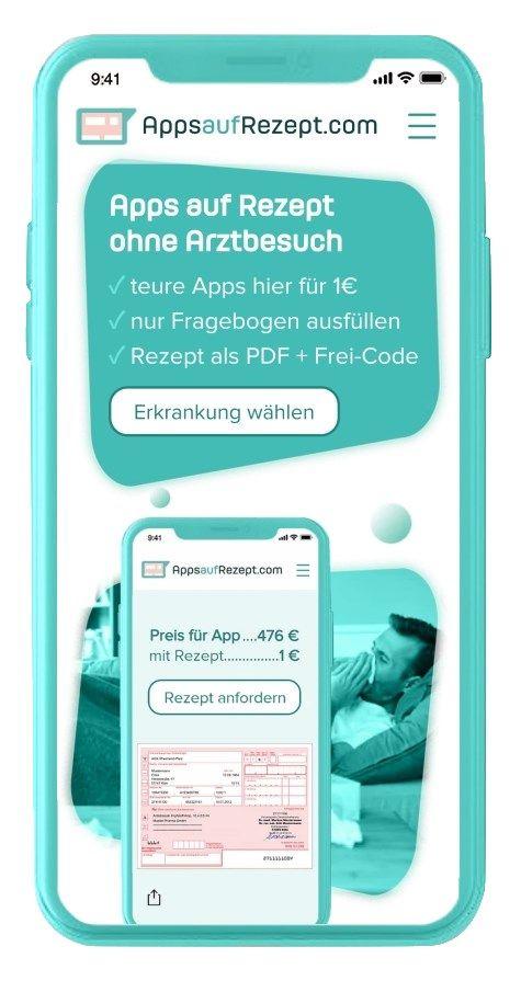 AppsAufRezept.com Handy-Screenshot /Foto: Dr. Ansay AU-Schein GmbH
