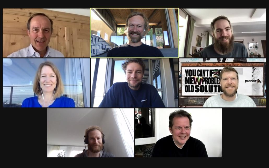 Wie in diesen Tagen üblich, trifft sich das Team von Planet A vor allem online. Fridtjof Detzner ist oben in der Mitte zu sehen.