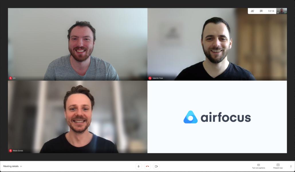 Die Gründer von airfocus: Malte Scholz, Christian Hoffmeister und Valentin Firak (von links unten im Uhrzeigersinn)