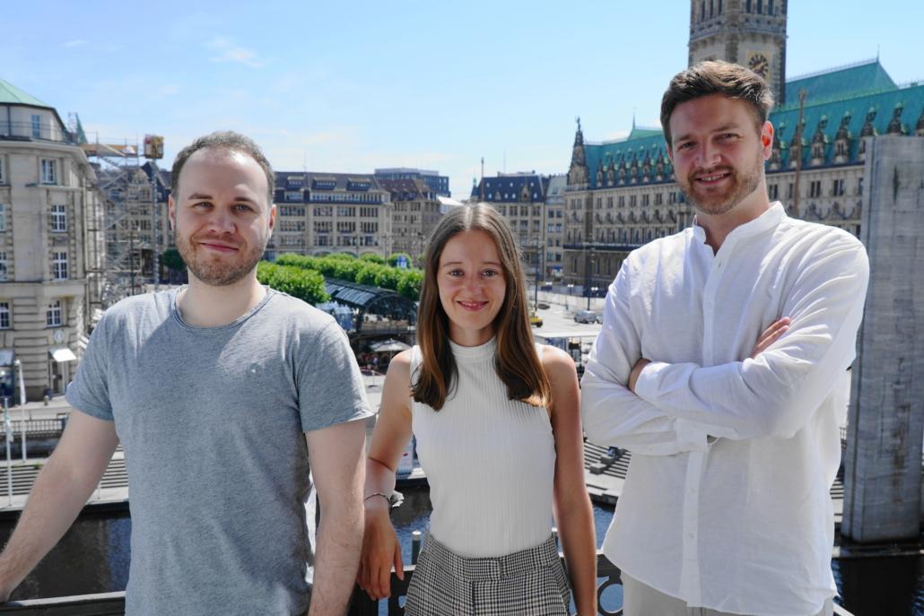 Das Gründungstrio von ai-omatic: Dario Ramming, Lena Weirauch und Felix Kraft.