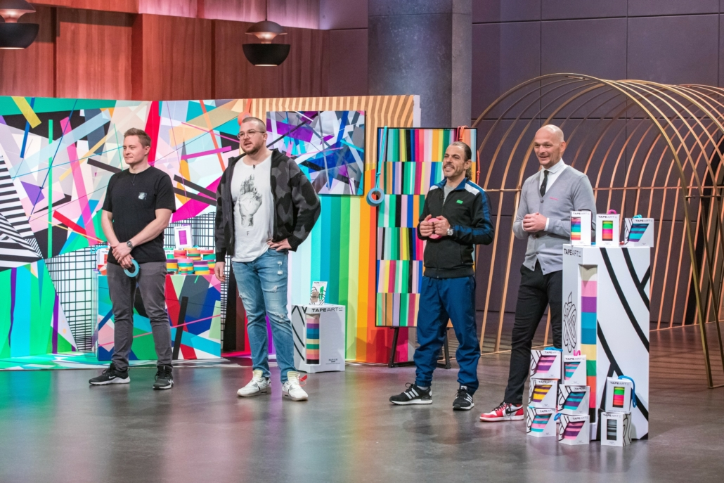 Stephan Meissner, Nicolas Lawin, Mohamed Ghouneim und Timm Benjamin Zolpys wollen Tape Art massentauglich machen.